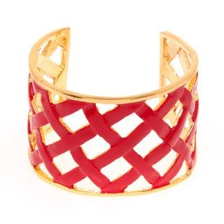 Kenneth Jay Lane Goldtone/ Red Enamel Basket Weave Cuff Bracelet