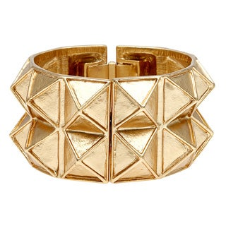 Kenneth Jay Lane Goldtone Geometric 2-row Cuff Bracelet