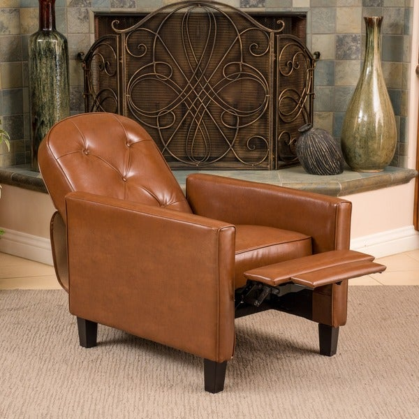 Johnstown Tufted Hazelnut Leather Recliner by Christopher Knight Home