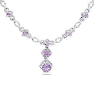 Miadora Sterling Silver 2ct TGW Rose de France and Diamond Necklace (H-I, I2-I3)
