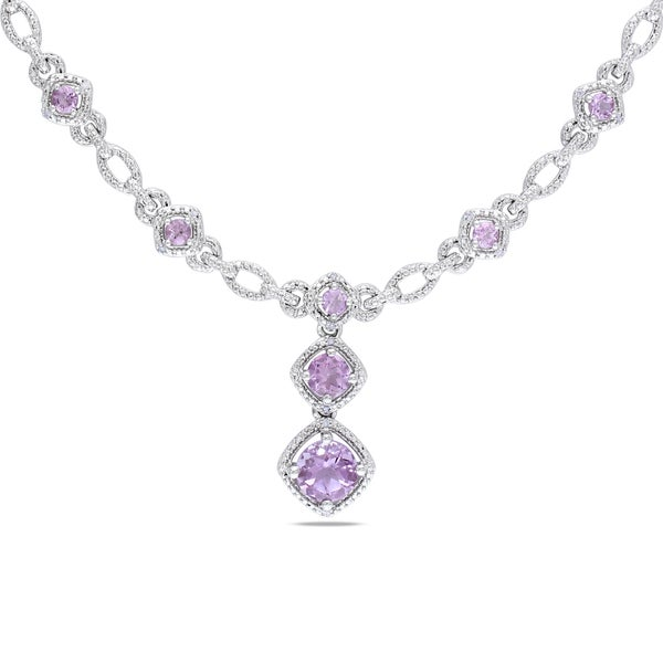 Miadora Sterling Silver 2ct TGW Rose de France and Diamond Necklace (H-I, I2-I3)