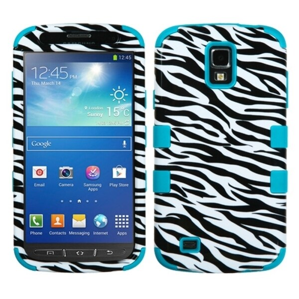 INSTEN Zebra/ Teal TUFF Hybrid Phone Case Cover for Samsung i537 Galaxy S4 Active