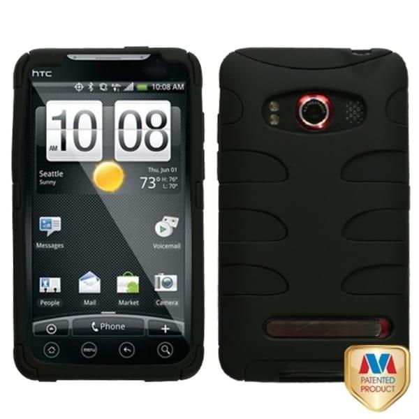 INSTEN Black/ Black Fishbone Phone Case Cover for HTC EVO 4G