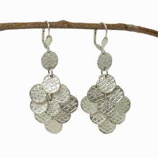 Handmade Stamped Disk Chandelier Earrings in Silvertone (India)