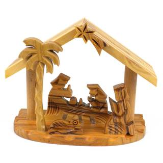 Handmade Olive Wood Small Beams Nativity (West Bank)