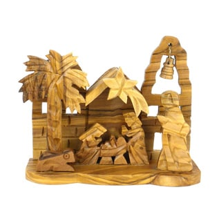 Handmade Olive Wood Medium Bell Nativity (West Bank)
