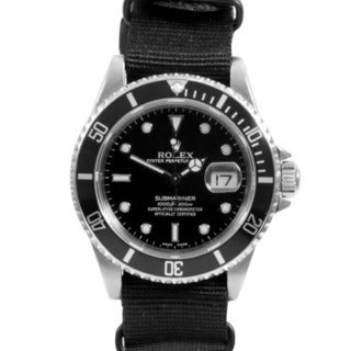 Pre-owned Rolex Men's Stainless Steel Submariner NATO Bracelet Watch