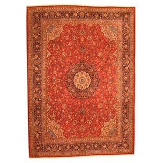 Herat Oriental Persian Hand-knotted Mahal Red/ Navy Wool Rug (9'10 x 13'7)