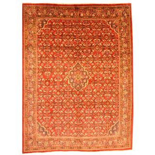 Herat Oriental Persian Hand-knotted Mahal Red/ Navy Wool Rug (9'6 x 12'8)