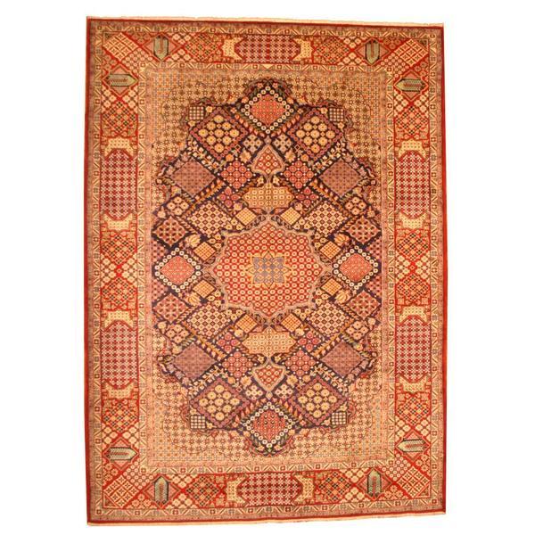 Herat Oriental Persian Hand-knotted Kashan Wool Rug (10'5 x 14'5) - 10'5 x 14'5