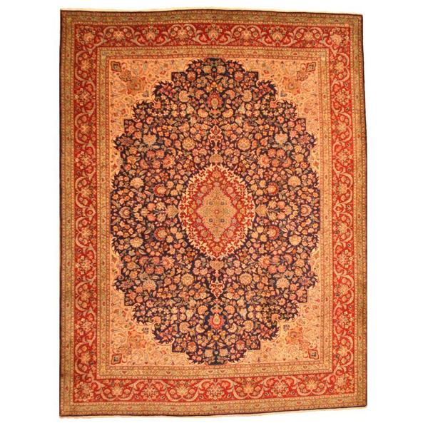 Handmade Herat Oriental Persian Tabriz Wool Rug - 9'10 x 13' (Iran)