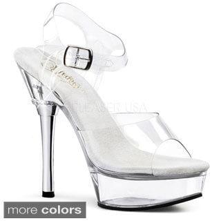 Pleaser Women's 'Allure-608' Iron Heel Clear Stiletto Sandals