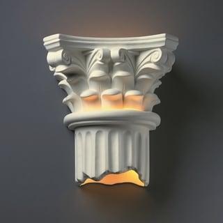 Corinthian Column Open Bottom Ceramic 2-light Sconce