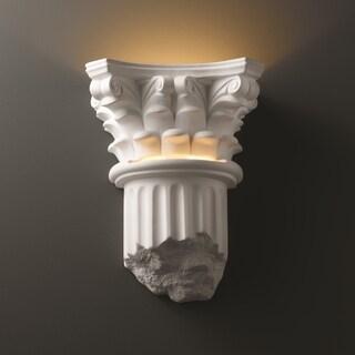 Corinthian Column Closed Bottom Ceramic 1-light Sconce