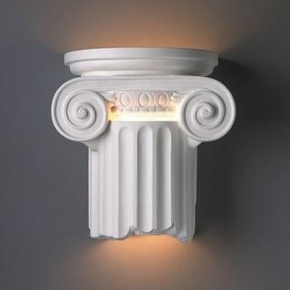Ionic Column Open Bottom Ceramic 2-light Sconce