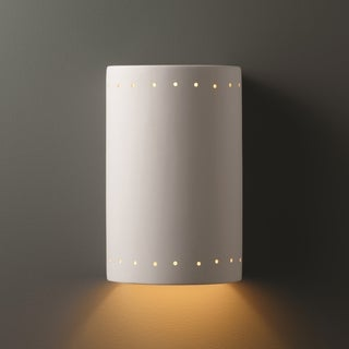 Perferated Cylinder Closed Top Ceramic 1-light Large ADA Sconce