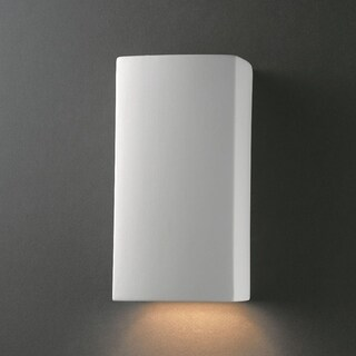 Small Rectangle Closed Top Outdoor Ceramic 1-light ADA Sconce