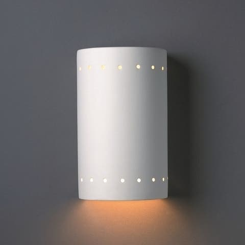 Porch & Den Foundry White Perferated Ceramic Closed Top Cylindrical 1-light Sconce