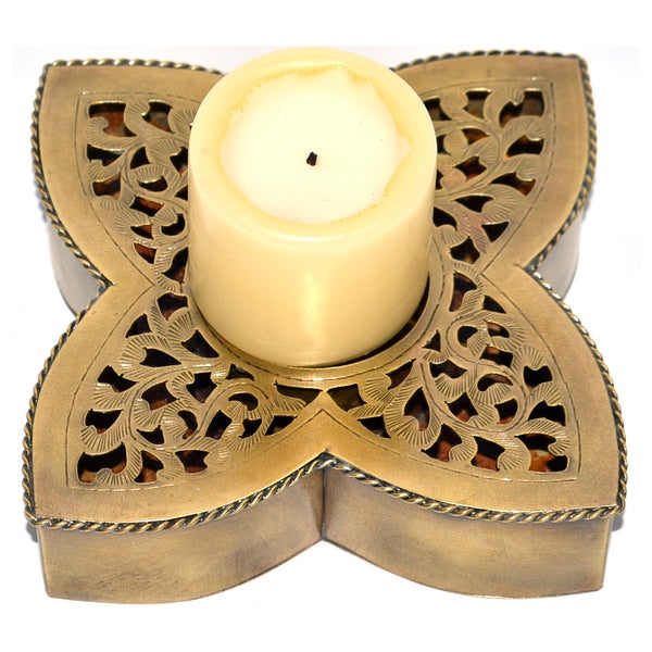 Shop Hand-chiseled Brass Candle Base (Morocco) - Free