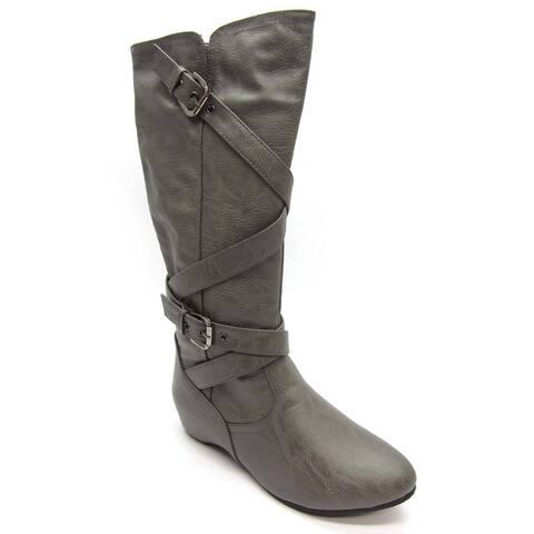 Blue Women's 'Lee' Grey Flat Bottom Boots