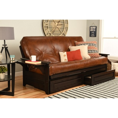 Havenside Home Okaloosa Espresso Full-size Wood Frame with Bonded Leather Innerspring Mattres