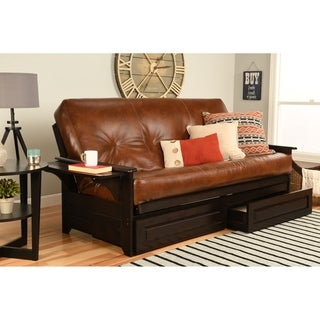 somette ali phonics multi flex espresso full size wood frame with bonded leather innerspring futon set for less   overstock    rh   overstock