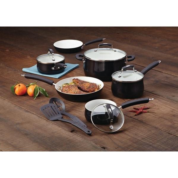 Paula Deen Savannah Collection Aluminum Nonstick 12 Piece Black Cookware Set