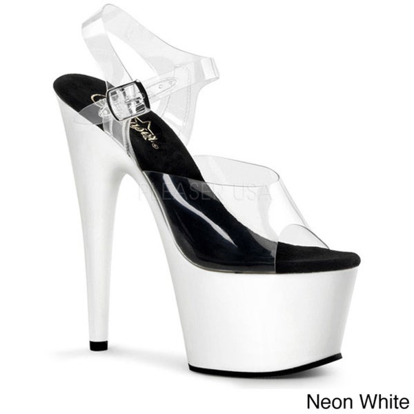 d9a523dd25 Shop Pleaser Women's 'Adore-708UV' 7-inch Neon and Clear Platform ...