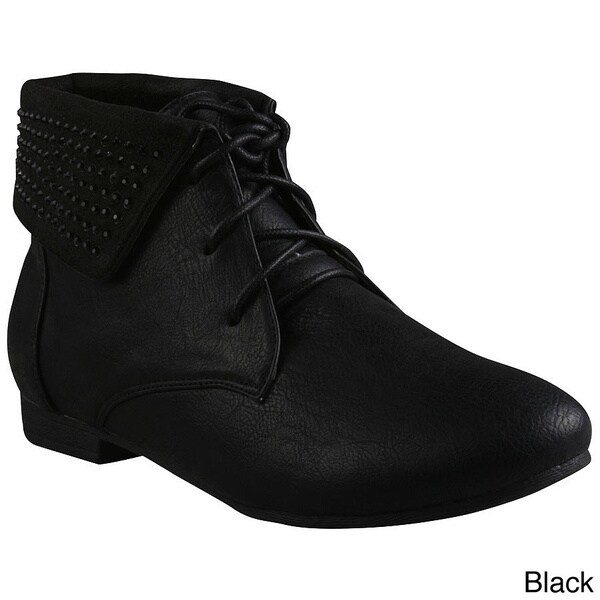 Refresh Women's 'Chase-02' Rhinestone Collar Ankle Booties