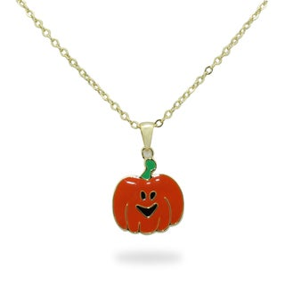Junior Jewels 18k Gold Overlay Children's Enamel Pumpkin Patch Necklace