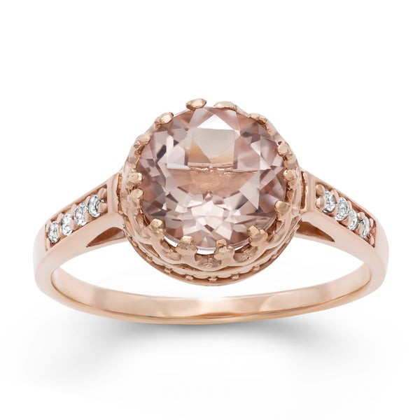 Gioelli Tiara Collection Rose Goldplated Silver Pink Quartz Crown Ring