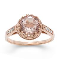 Gioelli Tiara Collection Rose Goldplated Silver Simulated Morganite Crown Ring