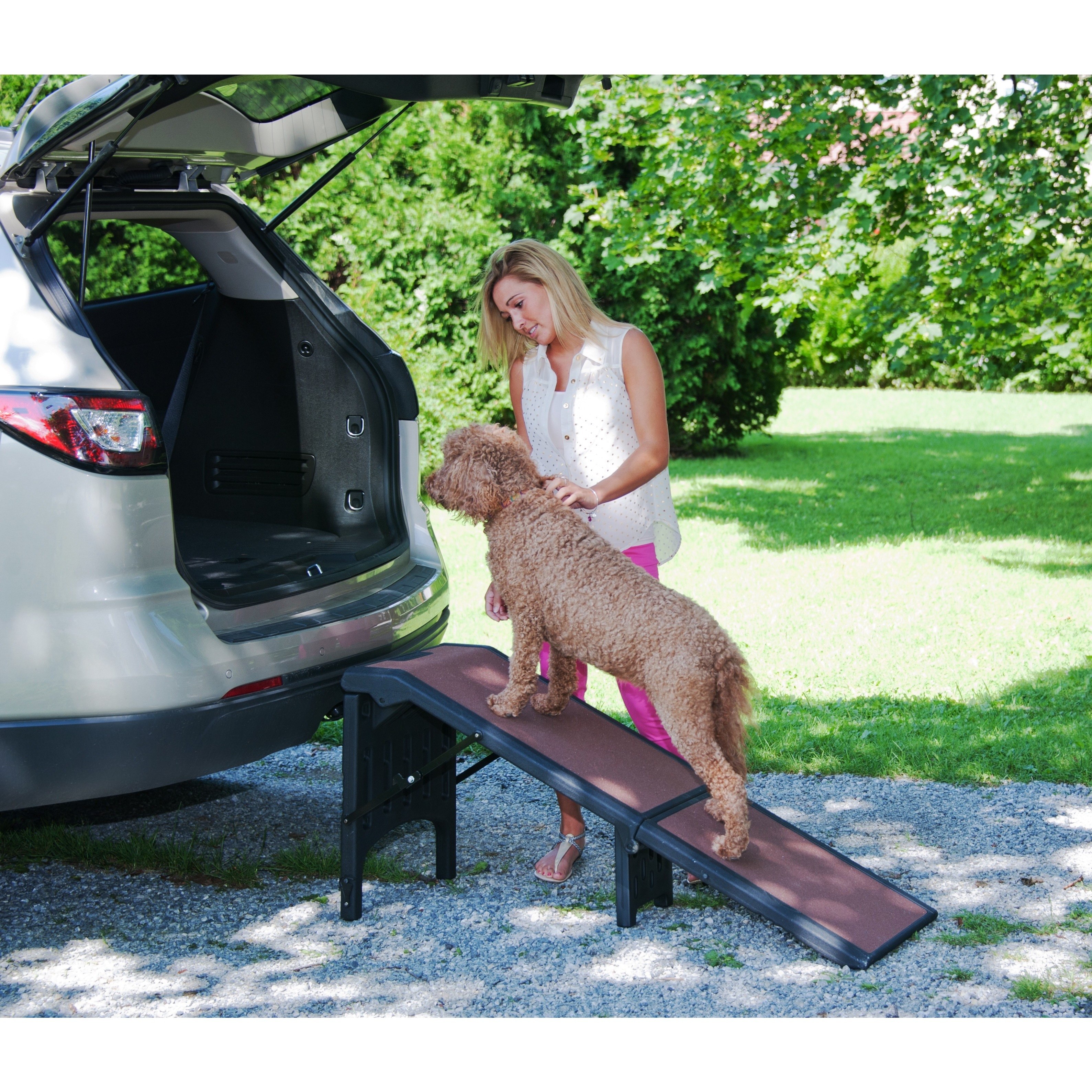 Pet Gear Extra Wide Free-Standing Pet Ramp, Brown