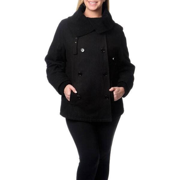 Mo-ka Women's Plus Wool Pea Coat