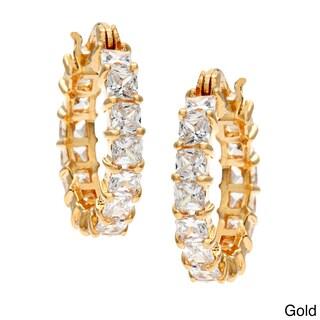 Simon Frank Platinum Base Rhodium Princess-cut Cubic Zirconia Infinity Hoop Earrings