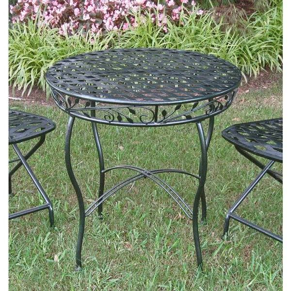 Iron Round Hammered Verdi Gris Leaves Patio Bistro Table