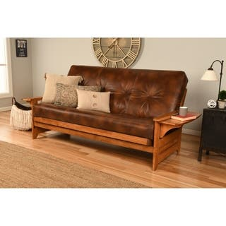 Havenside Home Okaloosa Honey Oak Full Size Futon Frame With Bonded Leather Innerspring Mattress