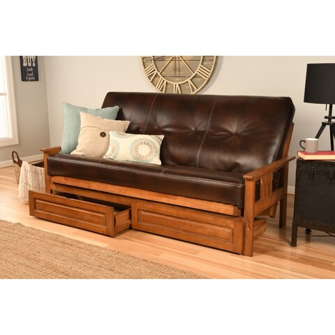 Clay Alder Home Zumbro Full-size Futon Frame with Bonded Leather Innerspring Mattress