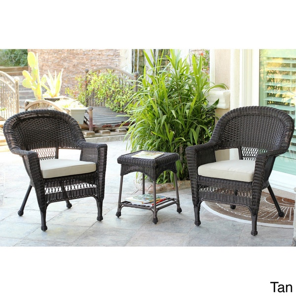 3-piece Espresso Wicker Bistro Set