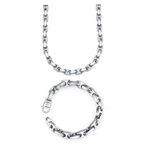 Men's Stainless Steel H-Link Necklace and Bracelet Set