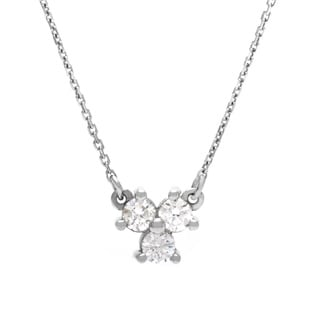 14k White Gold 1/4ct TDW Diamond Necklace (G-H, SI1-SI2)