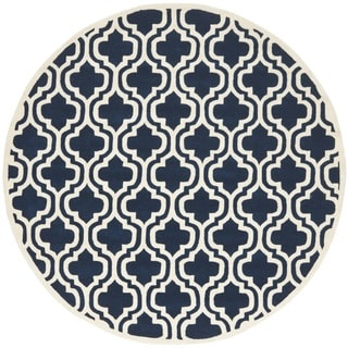 Safavieh Handmade Moroccan Chatham Dark Blue/ Ivory Wool Rug (4' Round)