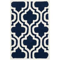 Safavieh Handmade Moroccan Chatham Double-trellis-pattern Dark Blue/ Ivory Wool Rug - 2'3' x 5'