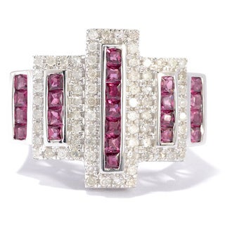 Dallas Prince Silver Rhodolite and 1/2ct TDW Diamond Ring (H-I, I1-I2)