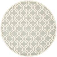 Safavieh Handmade Moroccan Chatham Grey/ Ivory Wool Rug - 4' Round