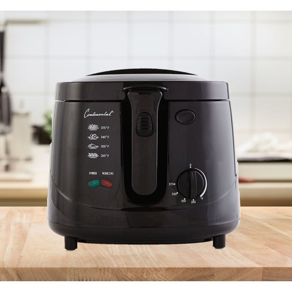 Continental Electric 2.5 Liter Deep Fryer, Cool Touch Black