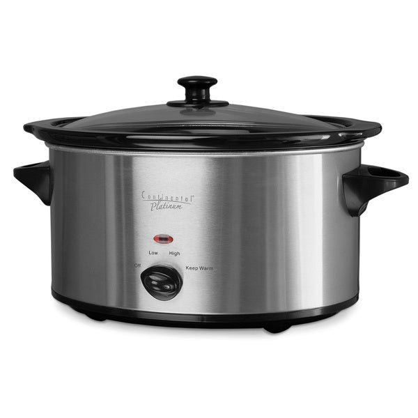 7-quart Stainless Steel/ Black Oval Slow Cooker
