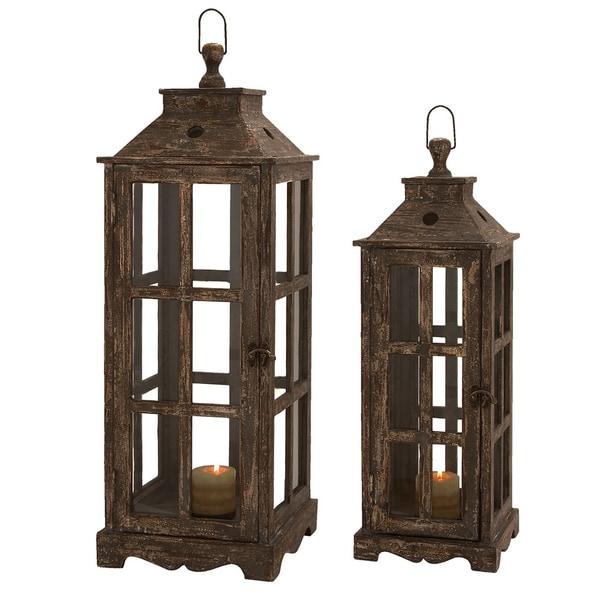 Santa Barbara Weathered Wood 2 Piece Square Lantern Set