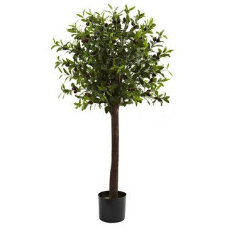 Nearly Natural 4-foot Olive Topiary Silk Tree Decorative Plant