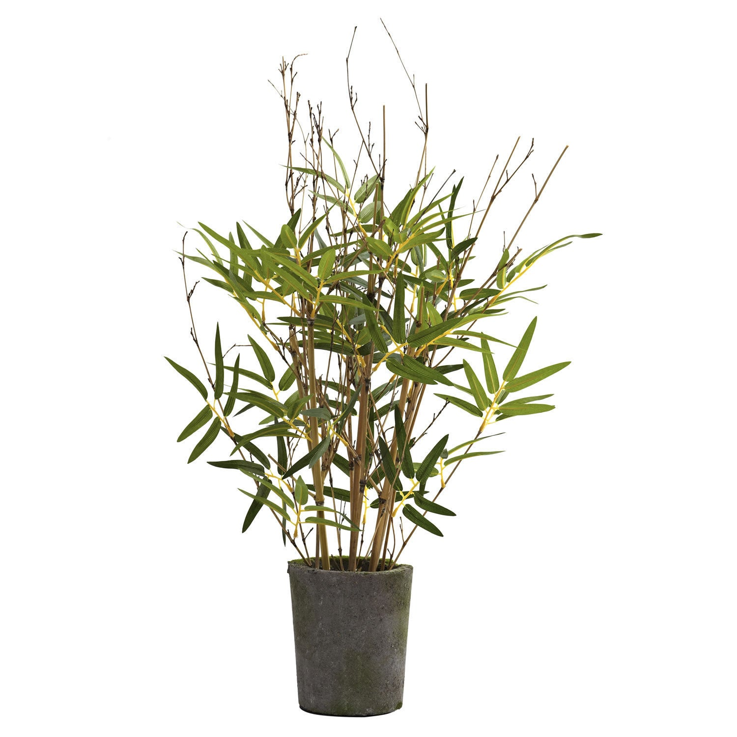 Nearly Natural 27 Inch Bamboo Tree Cement Pot Decorative Plant Green